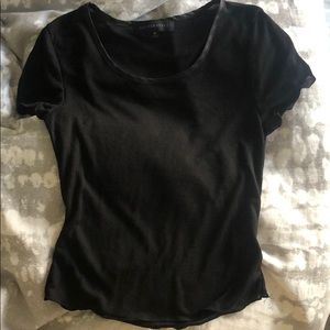 Super soft cropped black short sleeve shirt